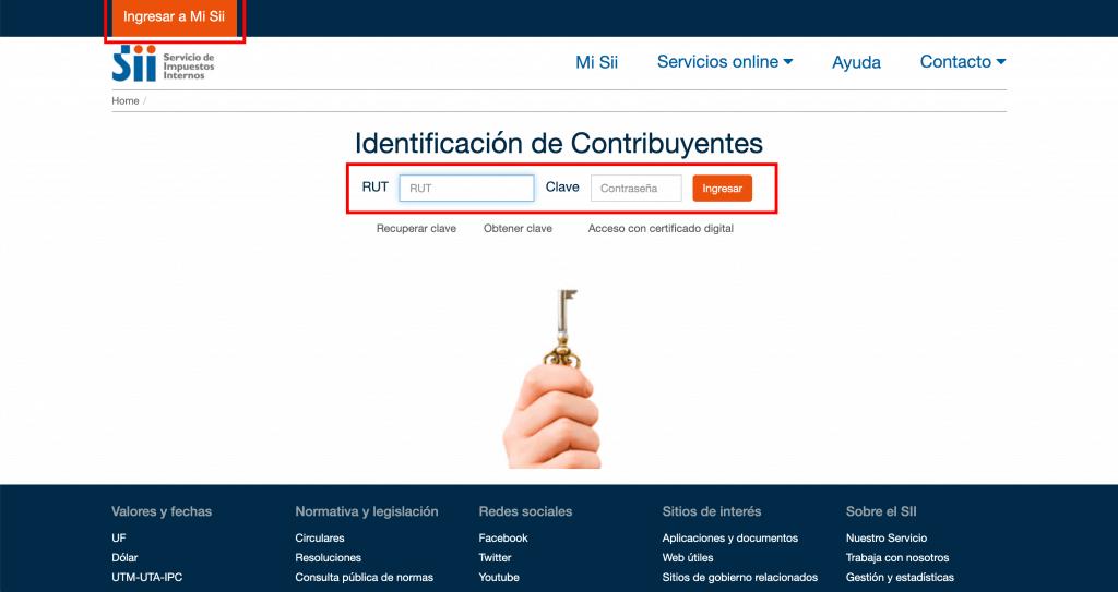Paso 1 Ingrese a la página del Servicio de Impuestos Internos (SII) en www.sii.cl