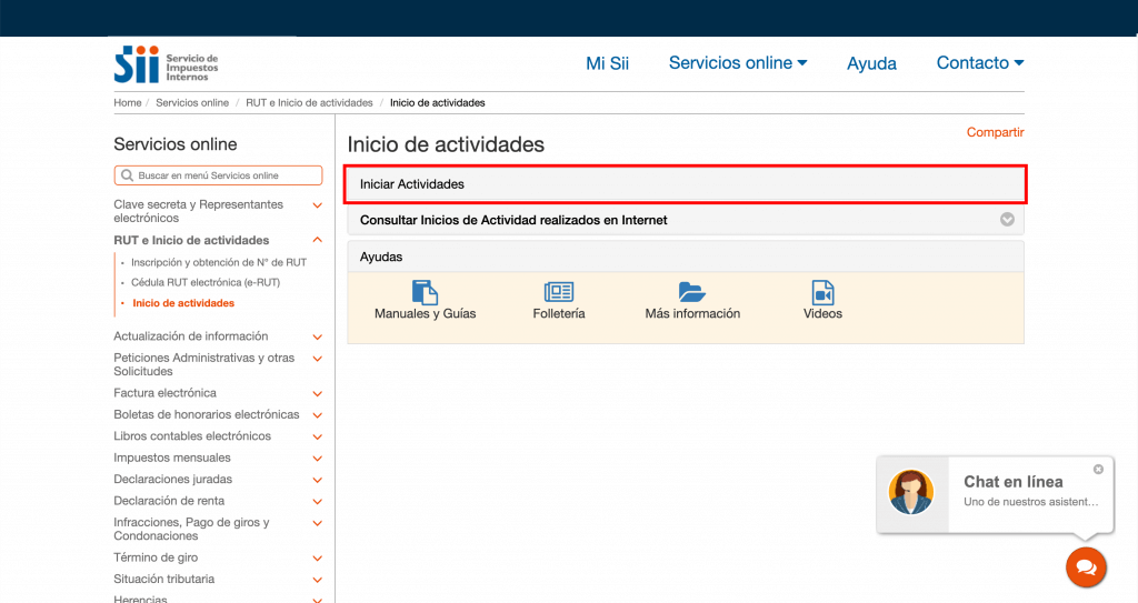 Paso 4 En la pantalla inicio de actividades, haga clic en Iniciar actividades