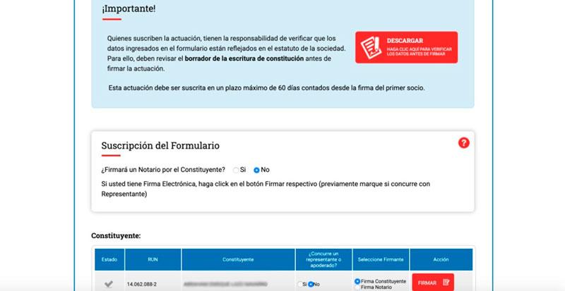 paso 13 crear una eirl Firma la constitución de la empresa