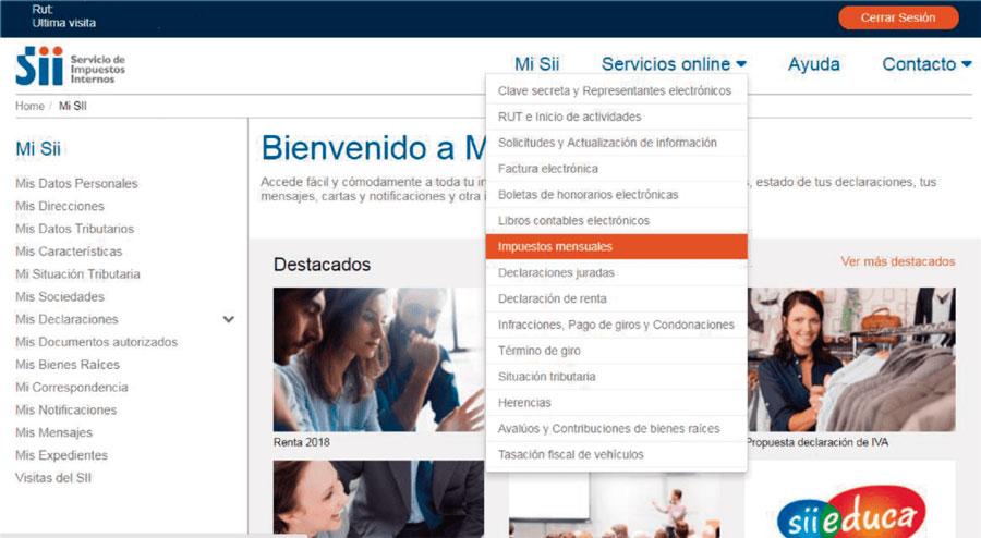 2. Ingrese al menú, seleccione servicios onlines y haga clic en Impuestos mensuales